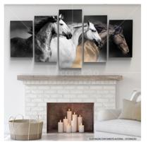 Quadro mosaico cavalos 5 peças abstrato moderno painel para decoração de ambientes - Neyrad