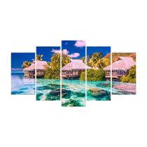 Quadro Mosaico de 5 peças Paisagens Mundiais 06 - New Decor