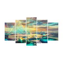 Quadro Mosaico de 5 peças Paisagens Mundiais 08 - New Decor