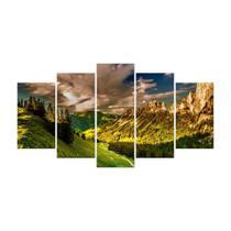 Quadro Mosaico de 5 peças Paisagens Mundiais 10 - New Decor
