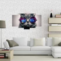 Quadro Mosaico Decoração 5 Peças Psicodélico Gato Decoração - Paradecoração