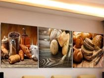 Quadro Mosaico Decorativo Pão, Café, Padaria 180x60 - Paradecoração