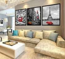 Quadro Mosaico Decorativo Paris, Londres, New York 120x60 - Neyrad