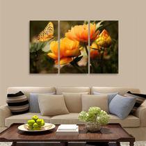 Quadro Mosaico Flores Borboleta Paisagem Para Sala Quarto - Paradecoração