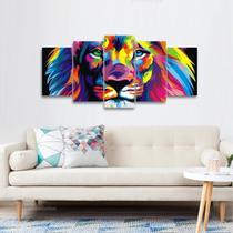 Quadro Mosaico Leão Modenro Art 5 Peças decorativo - Wall frame