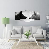 Quadro Mosaico Lobo Preto e Branco Animais 125x60 5 Peças - Wall frame