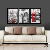 Quadro Mosaico Londres, Roda Gigante, Telefone Com Moldura - Neyrad