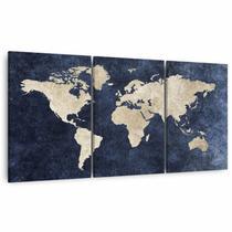 Quadro Mosaico Mapa Mundi decorativo Para Escritórios Quarto 60x120 Canvas - Framez