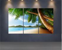 Quadro Mosaico Paisagem Praia 3 Peças 1,20x0,70cm - Ref 22 - Dekorarte