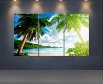 Quadro Mosaico Paisagem Praia 3 Peças 1,20x0,70cm - Ref 24 - Dekorarte