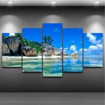 Quadro Mosaico Paisagem Praia 5 Peças 1,20x0,70cm Ref 07 - Pri D'Cora