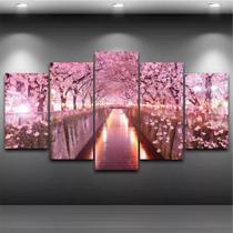 Quadro Mosaico Paisagem Rosa 5 Peças - Paradecoração