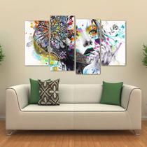 Quadro Mulher Abstrato Sala Escritório Em Tecido 4 Peças - Wall frame