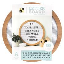 Quadro Mural Letreiro Circular WER385 38cm Roundwood Letterboard -