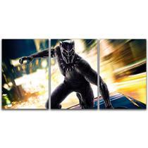 Quadro Painel 3 Partes Pantera Negra Marvel 120x60cm - Arte Nerd