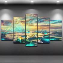 Quadro paisagem 5 peças estilo mosaico ndk08 - Neyrad