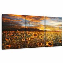 Quadro Paisagem Mosaico Campo de Girassol Flores em Tecido Canvas - Framez