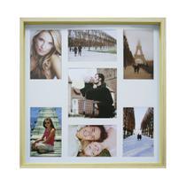 Quadro para Fotos Wood Natural e Amarelo 40x40cm - Kapos