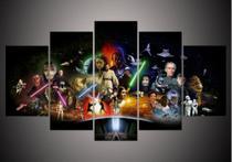 Quadro Para Sala Star Wars Personagens 5 Peças Mosaico - Neyrad