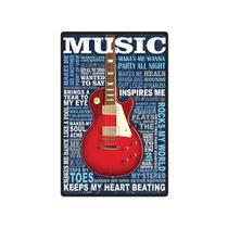 Quadro Placa Decorativa - Guitarra - Maison de lele