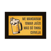 Quadro Placa Decorativa Moldura - Frases - So Tinha Cerveja - Encaixo