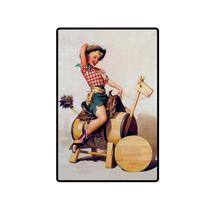 Quadro Placa Decorativa Retro - Pin Up Cavalo Madeira - Maison de lele