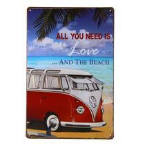 Quadro Placa Metal Decorativa Vintage Love and Beach 20x30 - DA