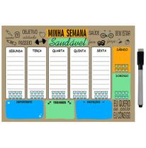 Quadro Planejador de Metal Semanal 20x26cm + Caneta - Ideal Planners