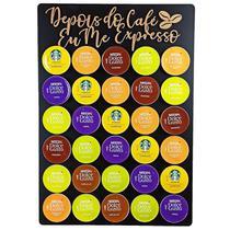 Quadro Porta Cápsulas Café 30x40 Dolce Gusto - Preto - Depois do Café eu me Expresso - 30 Cápsulas - Facris Artefatos
