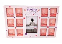 Quadro Porta retrato 12 meses 13 fotos - baby - Menina Primeiro Ano - Make Laser