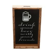 Quadro Porta Rolha de Vinho Bambu Drink Good Beer With Good Friends 46,5cmx30,5cmx5cm Rojemac Marfim