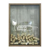 Quadro Porta Rolhas 32x42x4Cm Wine House Natural I - Kapos