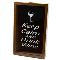 Quadro Porta Rolhas de Vinho 32x20cm Madeira Woodart Keep Calm -