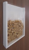 Quadro Porta Rolhas de Vinho Champanhe Tampinhas Decorativo de Parede - Branco Laca - Formalivre