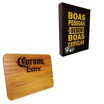 """Quadro Porta Tampinhas Artesanal """"Boas Pessoas"""" + Tábua de Maderia Corona - Ambev"""
