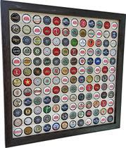 Quadro Porta Tampinhas cerveja coleção linha master moldura preto 144 furos presente - Co2Beer -