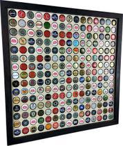 Quadro Porta Tampinhas cerveja coleção linha master moldura preto 255 furos presente - Co2Beer -