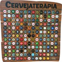 Quadro porta tampinhas cerveja modelo Rustic 150 furos tema Cervejaterapia - Co2Beer -