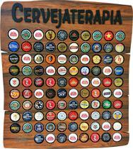 Quadro porta tampinhas cerveja modelo Rustic 80 furos presente tema Cervejaterapia - Co2Beer -