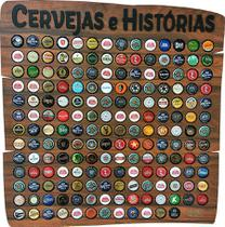 Quadro porta tampinhas modelo Rustic 150 furos tema Cervejas e Histórias - Co2Beer -