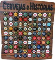 Quadro porta tampinhas modelo Rustic 80 furos tema Cervejas e Histórias - Co2Beer -