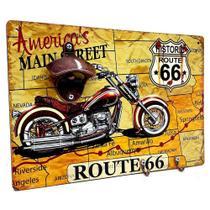 Quadro Retrô 50s c/Abridor de Garrafas Magnético com Ganchos Route 66 com Moto - Joy
