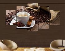 Quadro Sala Cozinha Mosaico 5 Partes Café Grãos Hd Mdf 6mm - Neyrad