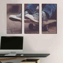 Quadro Skate no pé Decorativos 3 peças - Arte Quadro