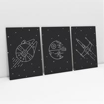 Quadro Star Wars Naves Minimalistas Decorativo Kit 3 Telas 60x40cm - Bimper