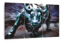 Quadro Touro De Wall Street Mosaico Artístico 3 Peças Decor - Neyrad
