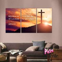 Quadro Triplo Salmo 91:7 - Arte Na Parede