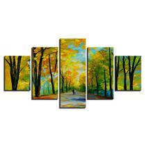 Quadros 5 peças caminho entre as arvores amarelas paisagem - KyMe