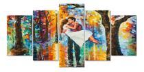 Quadros 5 peças  casal romanticos namorados abstratos color - KyMe