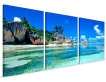 Quadros Arvore Praia Paisagem Mar Para Sala 3 Telas - Neyrad